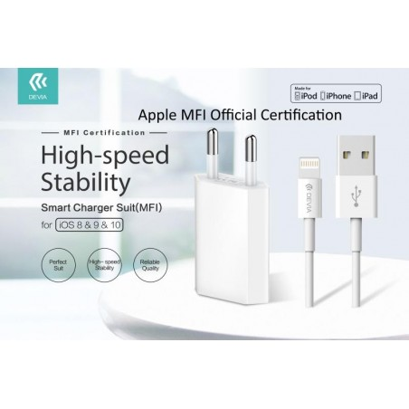 Suit Carica Batteria + Cavo Lightning Apple Certificato MFI