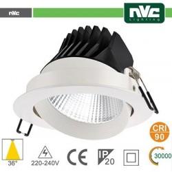 Faro direzionabile LED IP20 25W 3000K 1870LM 36° FORO:150mm