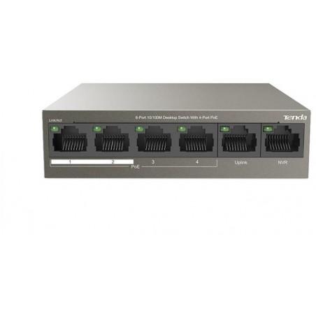 Switch 6 porte 10/100M desktop 4 porte PoE Tenda TEF1106P
